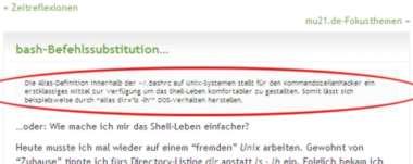 View Single Post (bash-Befehlssubstitution): mu21.de Excerpts